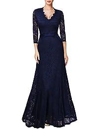 Miusol® Elegante Damen 3/4 Arm V-Ausschnitt Spitzen Brautkleid Festliches Cocktailkleid Langes Abendkleid Gr.36-46