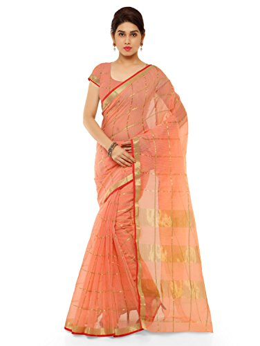 Kvsfab Women's Cotton silk saree,Peach