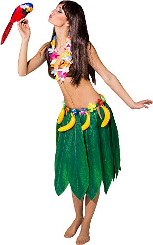 shoperama Blätterrock mit Bananen und Hawaii Blumen Damen Kostüm Tarzan Jane Party Strand Südsee exotisch Tropen Bananenblätter