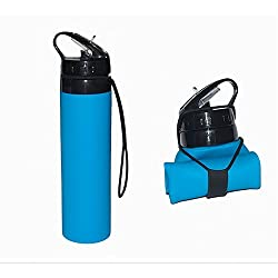 Cindley Collapsible Water Bottle Silicone - 610ml BPA Free Folding Water Bottle Travel Outdoor Leak Proof Water Bottle Foldable Sports Bottle for Outdoor Travel Camping FDA Certificated - Blue