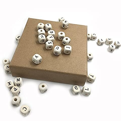 Coskiss 50pcs Natural Wooden Teether 10mm*10mm(0.39''0.39'') Wooden Cube Letters Spacer Bead Alphabet Cube Square dice Beads with a Hole Jewelry Finding Mixed Letter (color