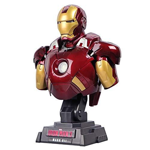 BJL Marvel Heroes Büste Avengers MK7 Iron Man Büste Statue Desktop Dekoration Skulptur Spielzeug (Leuchten Man Handschuhe Die Iron)