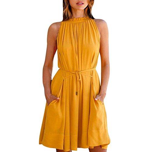OverDose Damen Sommer-Kleid Frauen Chiffon Sleeveless Solid Neckholder sommerkleid srandkleid beiläufiges Partei Kleid (S, Gelb) (Solid-jersey-kleid)