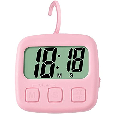 TXL Full Vision Counts Up and Down Timer with Clear Digits Easy to Read Display Loud Alarm Pink