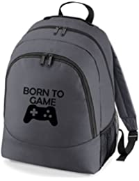 Embroidered Born to Game gamers rucksack backpack PS4 XBOX (grey/black)