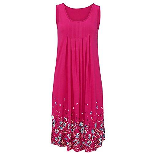 Robe imprimé floral Femmes Robes d'été d'été en vrac manches robes d'impression années 1950s midi robe Rose
