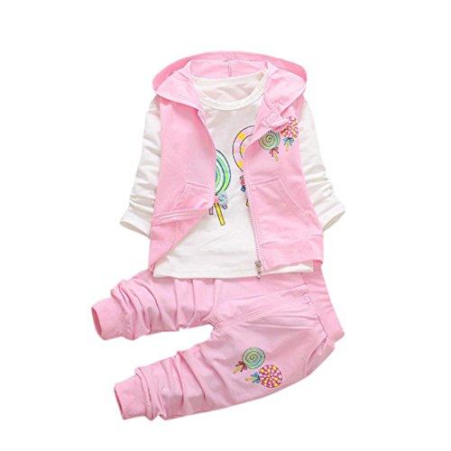 Babykleidung Neugeborene Hirolan Kleinkind Mädchen Lolly T-Shirt Kinder Baby Mit Kapuze Weste Niedlich Hose Weich Outfits Beiläufig Kleider Ausgefallene Babykleidung (90cm, Rosa) (Ausgefallene Baby-mädchen-kleidung)