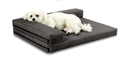 DIAMO Orthopädische Haustier-Schlafsofa - Hund, Katze oder Welpe Gedächtnis-Schaummatratze - Bequeme Couch für Haustiere mit entfernbarem waschbarem Abdeckung, M, Grey -