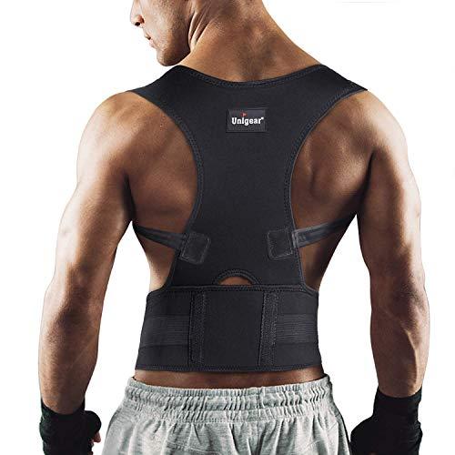 Unigear Corrector de Postura para Espalda Hombro Aliviar Dolor de Columna Cinta Ajustable y Cómoda Sujetador Cinturón Corrección de Postura Respirable para Mujeres y Hombres (L)