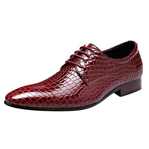 FNKDOR Schuhe Herren spitz Geschäft Schlange Lederschuhe Formelle Kleidung Berufsschuhe Freizeit Schnürsenkel Business-Schuhe Rot 44 EU (Air Clark)