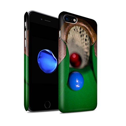 STUFF4 Matte Snap-On Hülle / Case für Apple iPhone 8 / Schwarze Kugel/Kreide Muster / Snooker Kollektion Blaue Kugel/Rack/Rosa