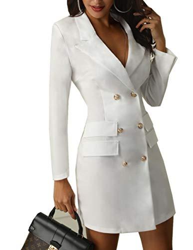 ZIYYOOHY Damen Anzug Kleider Business Blusenkleid Langarm V-Ausschnitt Knopf Minikleid (M, Weiß)