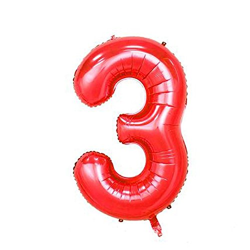 Smart Deko 40 cm Rot Folienballon Zahl 3 zur Luftbefüllung