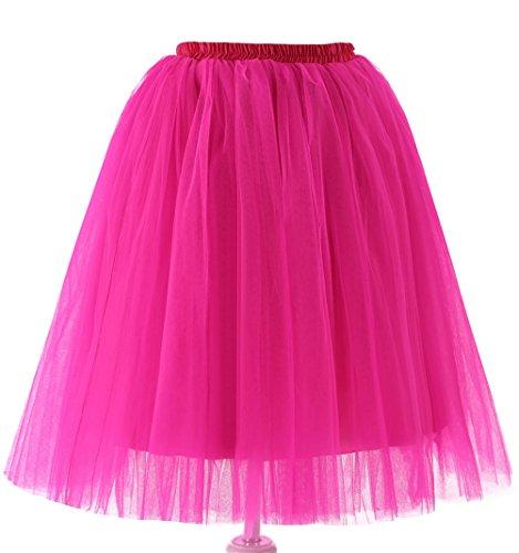 FNKSCRAFT® 5 Schicht Knielang Spout Petticoat kleid 50er jahre unterröcke kurz damen halloween kostüm damen (Cosplay Phoenix Kostüm)