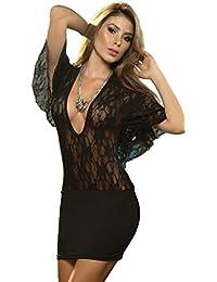 ThreeH Vestido corto con mangas Mini vestido de lencería para las mujeres