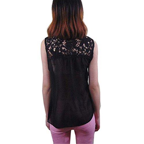 Femmes Débardeurs Vest, Reaso Spliced Lace Summer Chiffon Top sans manches Blouse Noir