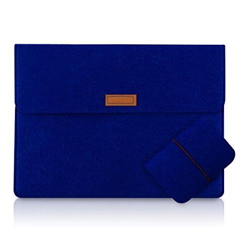 """kwmobile Laptoptasche Filz Sleeve für 12,5"""" 13"""" 13,3"""" Laptop / Ultrabook - Notebook Tasche Schutzhülle Laptop Case Hülle in Blau mit Innentaschen Innenmaße: ca. 36,5 x 27,0 cm"""