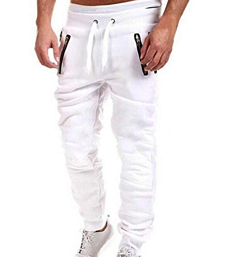 b00653486113 Huateng Men s Pants Slim Hip Hop Fitness Personality Sports Pants Men s  Fashion Zipper Stitching Fitness Pants