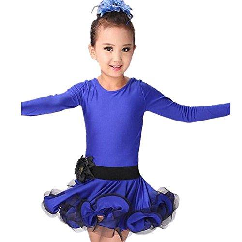 Byjia Esposizione Dei Fiori Garza Bambini Latino Abito Da Ballo . Blue . (Garza Shirt Dress)