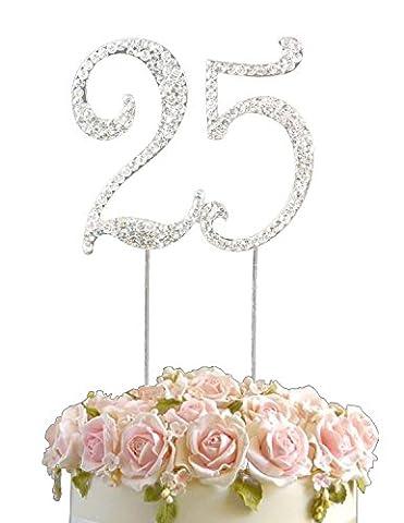 Rhinestone Crystal Birthday Anniversary Cake Topper Number Pick 25th Diamante