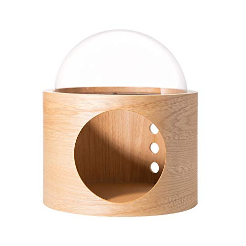 MYZOO Spaceship Gamma, Pet Bed for Cat & Dog, Window Perch, Cat Tree, Made of Wood (Oak, Open Right)
