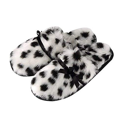 Tofern Womens Fluffy Leopard Slippers Soft Comfy Warm House Shoes with Mute Anti-Slip Sole for Ladies and Girls