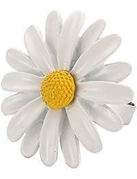 Funky estilo Festival aleación de la lata Blanca Margarita Flores ajustable moda anillo