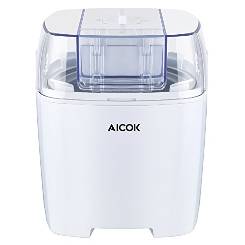 Aicok Macchina Per Gelati Frozen yogurt e Sorbetti Macchina,Basso Consumo Energetico Con Funzione Timer e Ricettario 1.5L,Bianco