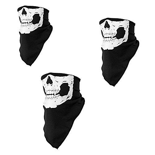 Ruikey Máscara de Calavera Estirables poliéster a Prueba de Viento Cara Cuello Bufanda para Snowboard Esquí Motocicleta Ciclismo Escalada Juego de 3