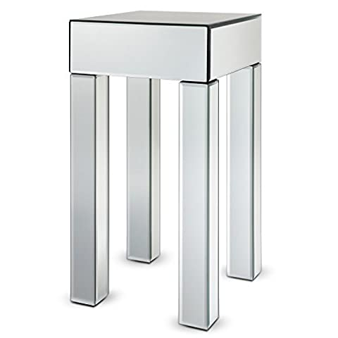 Miusco Glass End Table, Mirrored End Table / Side Table / Lamp Table / Console Table