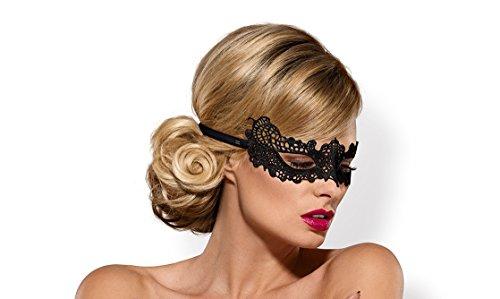 Preisvergleich Produktbild Maske Eye-Patch aus Spitze schwarz mit Satin-Band Augenbinde OneSize
