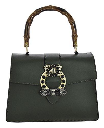 ALESSIA Borsa a Mano Borsa Spalla Vera Pelle Cuoio Donna Moda Made in Italy Verde