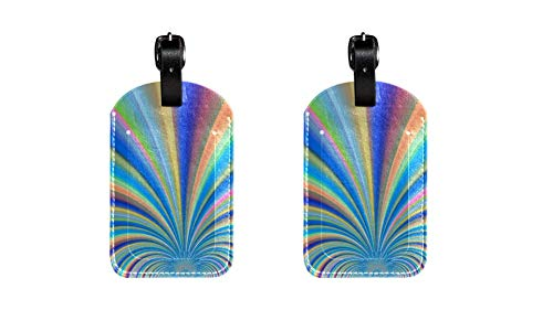 PU Leather Luggage Tags with Colorful Rainbow Rays Print Name ID Labels for Travel Bag Baggage Suitcase with Back Privacy Cover 2 Pack