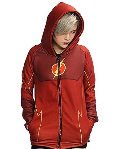Cosplay Rot Zip Up Hoodie Kostüm Herren Erwachsene Hoody Jacke Sweatshirt Kleidung Mantel für (Barry Allen Halloween-kostüm)