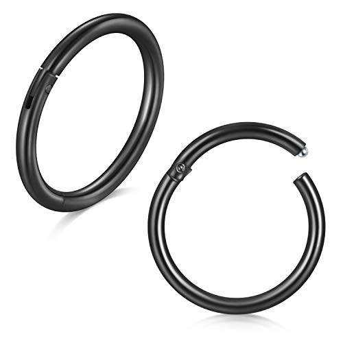 VFUN 1Pair Hinged Clicker Segment Septum Piercing Lip Nose Ring Helix Daith Cartilage Tragus Ear Body Piercing Jewelry 8MM - Black