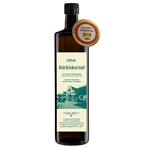 Kürbiskernöl 1000 ml direkt vom Bauernhof | 100% reines Kürbiskernöl 1l| frisch gepresst | antioxidant | Herkunft aus der Bewahrungszone Nationalpark Neusiedlersee Seewinkel