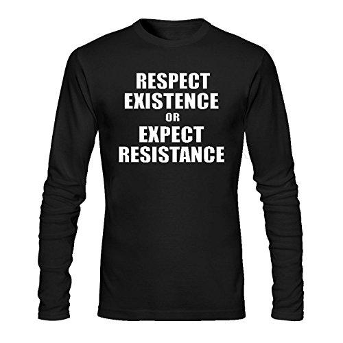 HOTdiy Respect Existence OR Expect Resistance Men's Long Sleeve Cotton Crewneck T-Shirt