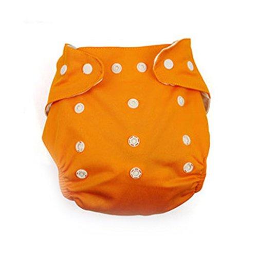 QHGstore Wiederverwendbare waschbare einstellbare ein Größe Baby-Taschen-Tuch Windeln Windel Orange und Raster -
