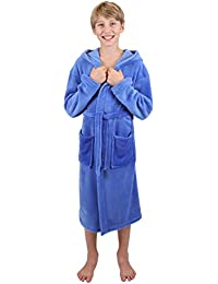 Betz Kinderbademantel Bademäntel Jungen Mädchen mit Kapuze Uni Größen 128 - 176 Farben blau und rot, Größe 176 blau