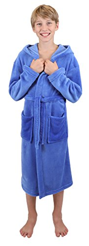 Betz Kinderbademantel Bademäntel Jungen Mädchen mit Kapuze Uni Größen 128 - 176 Farben blau und rot, Größe 152 blau