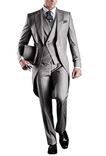 3 Stück Anzug (YYI Herren 3 Stück Frack Anzug Set Business Tuxedo für Männer Jacke, Weste, Anzughose)