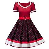 MisShow Damen Chic Petticoat Kleid 50er Jahre Rockabilly Polka Dots Vintage Kleider Kurzarm Festliches Cocktailkleider Rot-Schwarz Gr.4XL