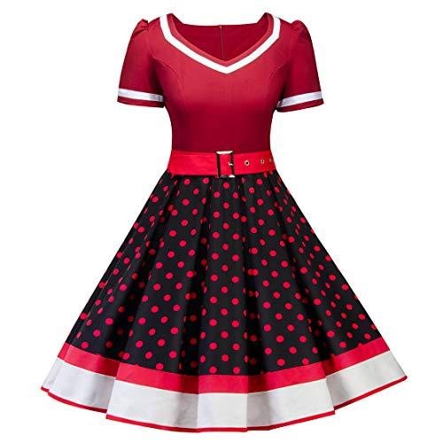 MisShow Damen Chic Petticoat Kleid 50er Jahre Rockabilly Polka Dots Vintage Kleider Kurzarm Festliches Cocktailkleider Rot-Schwarz Gr.XL