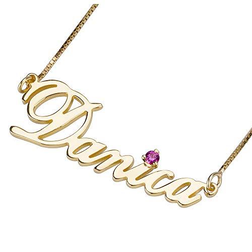 sster Namenskette with Geburtsstein 925er Silber Gold Personalisiert mit Ihrem Eigenen Wunschnamen Halskette für Herren/Damen 24k Gold ()