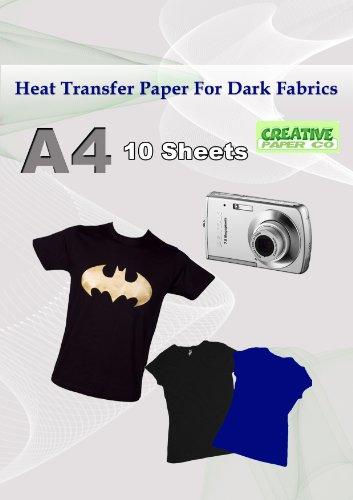 6277eaf53e Hierro en transferencia de calor papel para telas oscuras x 10 A4 camiseta  papel de