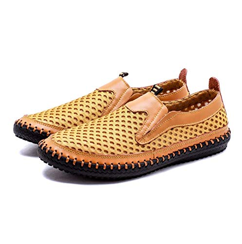 HOTSTREE Big Size 38-48 Summer Breathable Mesh Men Casual Shoes for Comfortable Handmade Men Slip-On Lazy Male Shoes Yellow 12