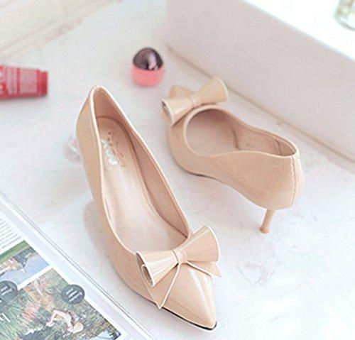 Damen Pumps Spitz Zehen mit Schleife Slip Stilettos Atmungsaktiv Elegant Modische Schuhe Aprikose,Lackleder