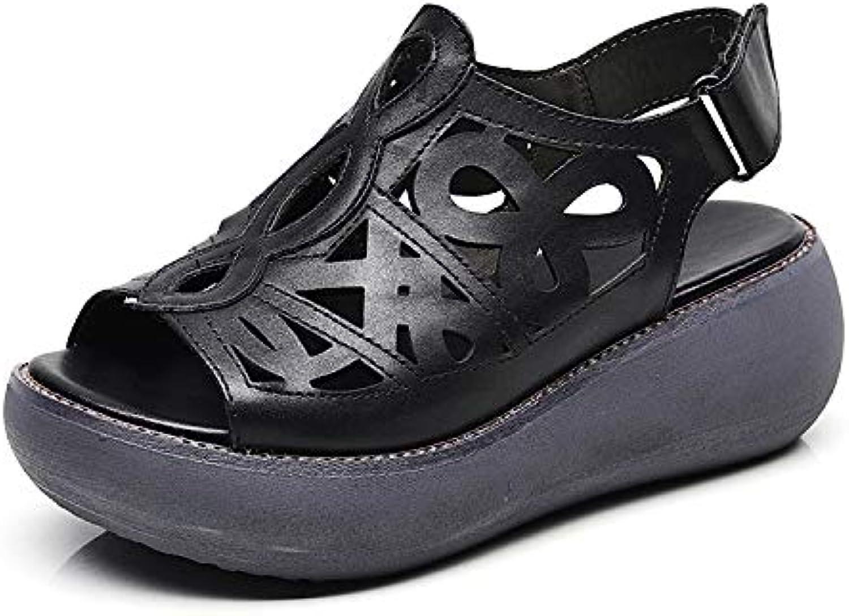 ZHRUI Scava fuori fuori fuori sandali donne gancio Loop Strap Peep Toe scarpe in pelle d'epoca (Coloreee   Nero, Dimensione... f91cd2
