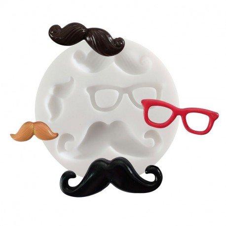 Silikonform 4Motive Schnurrbärte und Brille, rund 7cm superfeinen für Fimo, Gips, Kunstharz, Porzellan Kalten