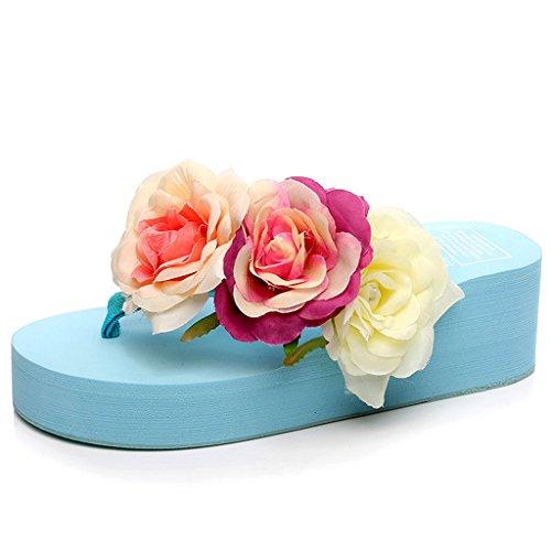 Eagsouni® Damen Plattform Plateau Sandalen Flip Flops, Sommer Mädchen Rose Keilabsatz Pantoffeln Hausschuhe Hellblau